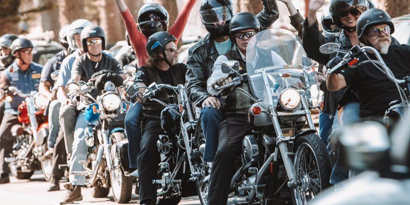 Team heading off to dinner on Harleys