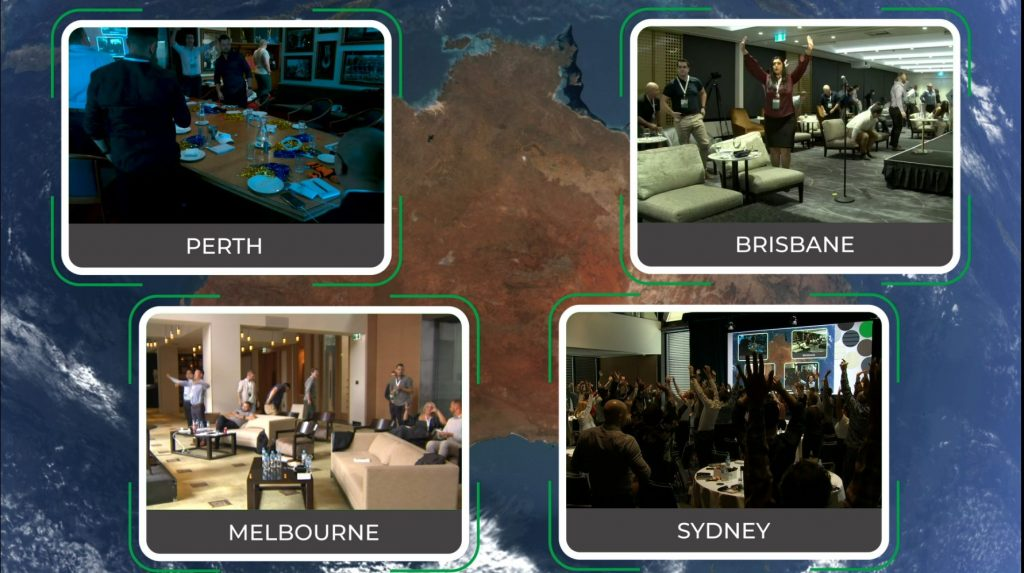 Multi site event audiences for hybrid events