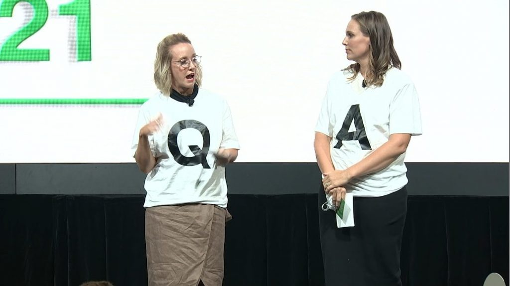 Hybrid Q&A for virtual and in person audiences